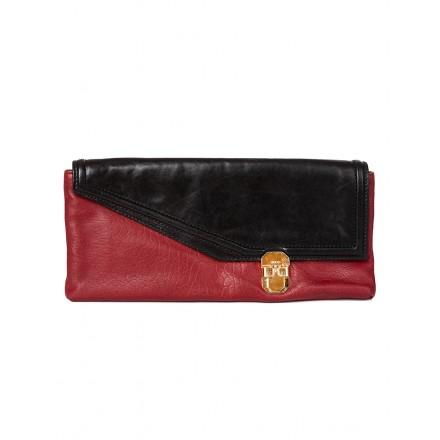 HUGO Leder Pochette rot schwarz
