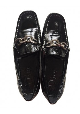 CHRISTIAN DIOR Lack Mokassins Loafer 37