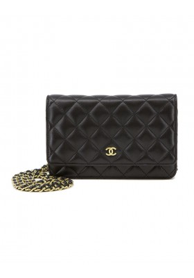WOC Wallet on Chain Lambskin black gold
