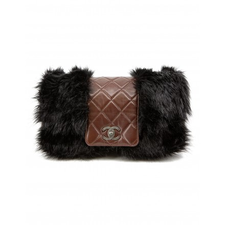 Lammleder & Fake Fur Flap Bag