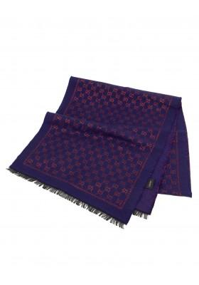 GUCCI Wolle-Seide Schal rot blau metallic