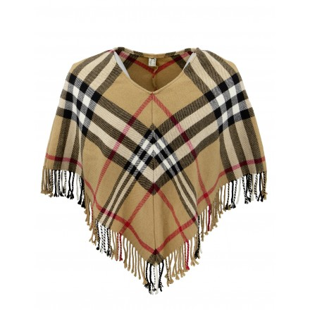 BURBERRY Check Wolle Cashmere Poncho