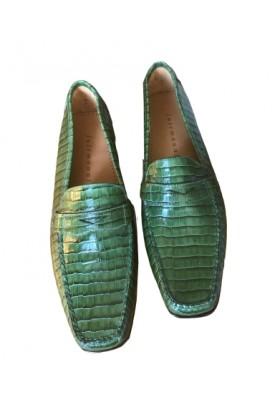 FAIRMOUNT Mokassin Grün Kroko Style Gr. 39 NEU