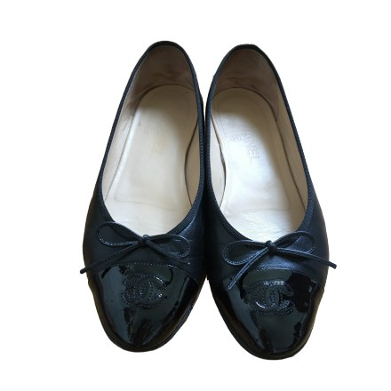 Chanel CC Cap Toe Ballerinas Schwarz. Gr. 39. Sehr guter Zustand.