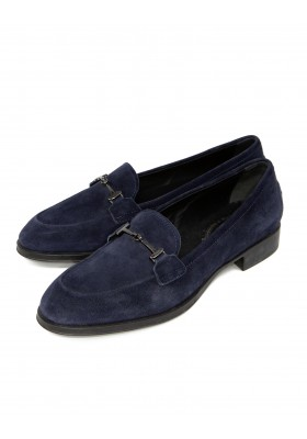 TODS Mokassins in blauem Wildleder.