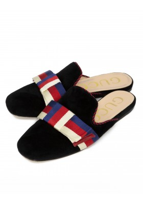 GUCCI Sylvie Bow Velvet Slipper 40