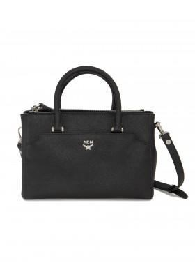MCM Crossbody Handtasche in schwarzem Leder.
