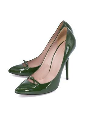 GUCCI Vernice Crystal Pumps Lackleder grün Gr. 40. Guter Zustand