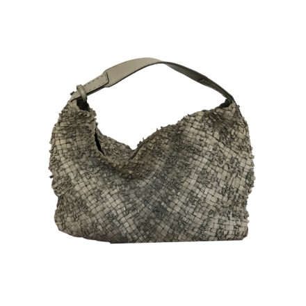 FALORNI ITALY Handtasche Leder grau/grün. Guter Zustand