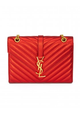 SAINT LAURENT Monogram Metallic Envelope Schultertasche