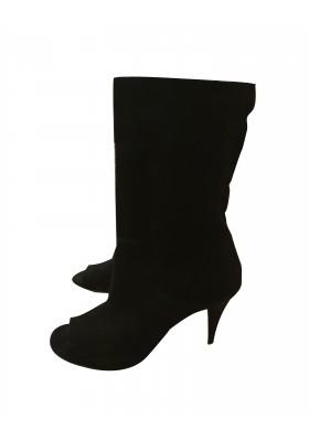 Peeptoe Ankle Boots Wildleder