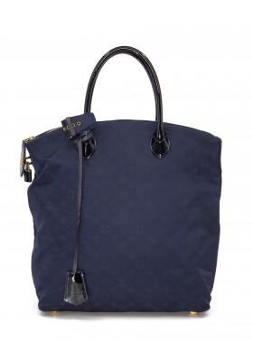 LOUIS VUITTON Lockit Vertical Desire MM Monogram Handtasche Nylon blau. Sehr guter Zustand.