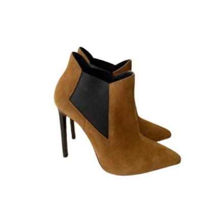 SAINT LAURENT Wildleder Stiefeletten Ankle Boots braun. Guter Zustand