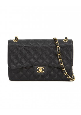 CHANEL Jumbo Double Flap Bag Classic Caviar schwarz gold. Full Set. Sehr guter Zustand.