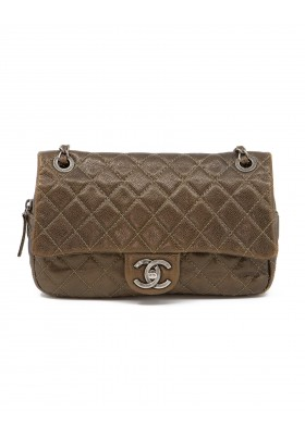 CHANEL Metallic Medium Flap Bag braun. Akzeptabler Zustand.