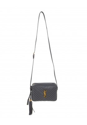 SAINT LAURENT Lou Camera Bag Chevron Stepp Leder anthrazit. Sehr guter Zustand.