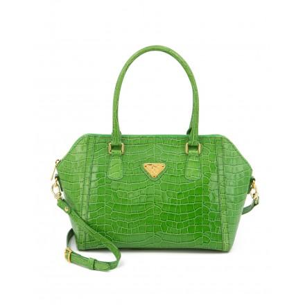 MOLLERUS Handtasche Krokoprägung grün. Zustand NEU.