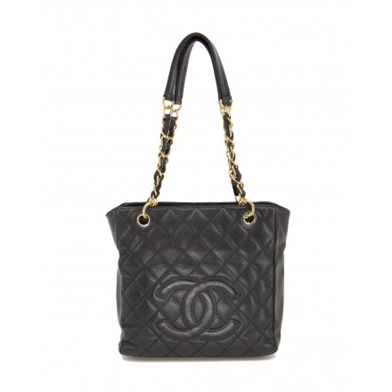 CHANEL PST Tote Bag Caviar Leder schwarz. Guter Zustand.