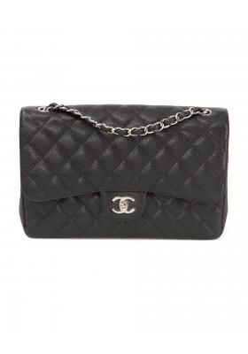 CHANEL Classic Flap Bag Jumbo Caviar Leder schwarz silber. Sehr guter Zustand