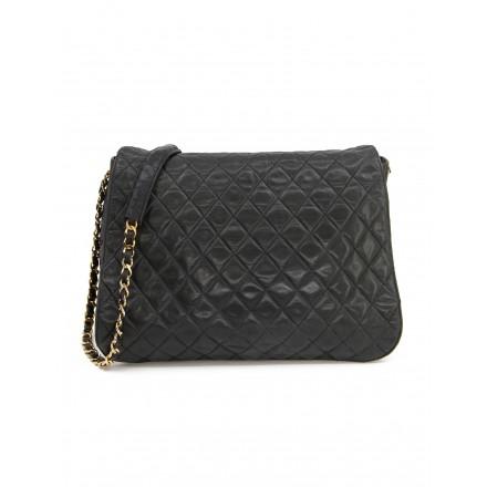 CHANEL Grosse Vintage CC Messenger Bag gestepptes Leder schwarz 24 k vergoldete Hardware. Guter Zustand