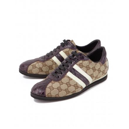 GUCCI GG Supreme Bowling Sneakers mit Krokodilleder Gr. 39.5. Sehr guter Zustand