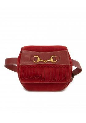 GUCCI Vintage Horsebit Gürteltasche Wildleder rot onesize. Guter Zustand