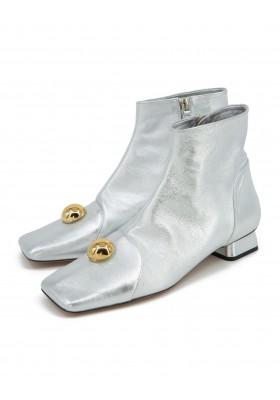 RAYNE LONDON Stiefeletten Seventies Look Leder silber metallic Gr. 38.5. Zustand NEU
