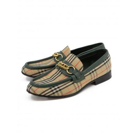 BURBERRY Loafer Nova Check & Leder grün Gr. 38. Guter Zustand