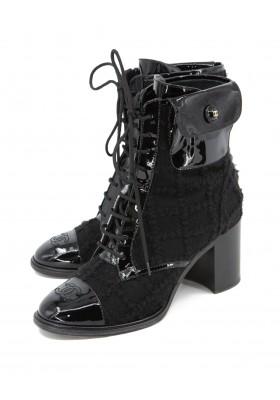 CHANEL CC Ankle Boots Tweed & Lackleder schwarz Gr. 39C. Sehr guter Zustand