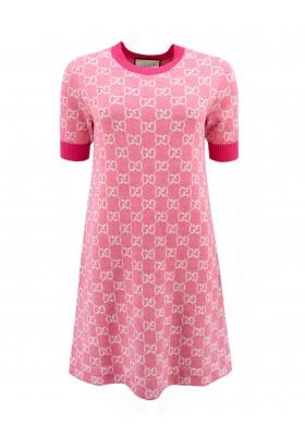 GUCCI GG Logo Strick-Kleid rosa Gr. M. Sehr guter Zustand