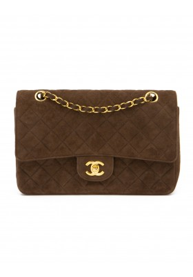 CHANEL Medium Double Flap Bag Suede braun 24 k
