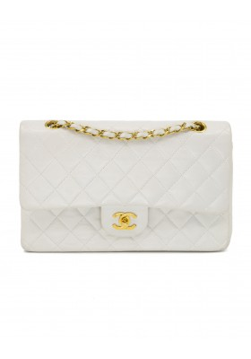 CHANEL Medium Double Flap Bag Lammleder weiss 24 k