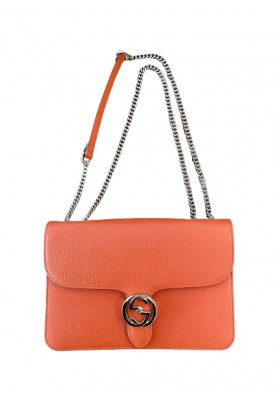 Gucci Interlocking GG Orange Leather Crossbody Bag. NEW.