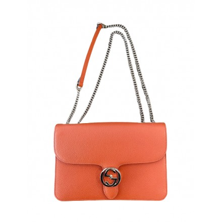 GUCCI Interlocking GG Orange Leather Crossbody Bag. NEW.