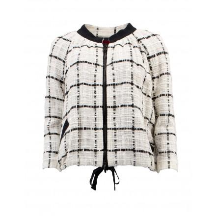 MONCLER Sommer Jacke Tweed Mix off-white-schwarz Gr. 36. Schwarz weiss. Sehr guter Zustand.