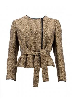 YVES SAINT LAURENT RIVE GAUCHE Tweed Jacke schwarz-gold Gr. 38. Sehr guter Zustand.