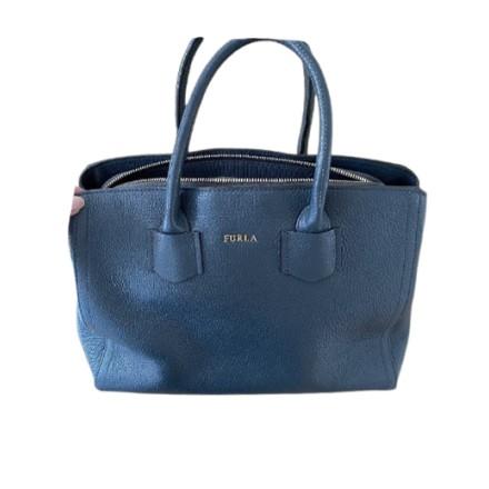 FURLA Handtasche Leder blau. Sehr guter Zustand