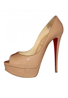 CHRISTIAN LOUBOUTIN Lady Peep 150 Lackleder nude Gr. 40.5. Sehr guter Zustand