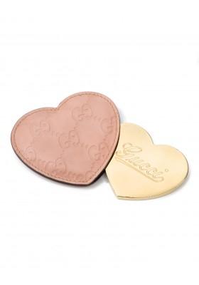 GUCCI GG Supreme Herz Taschenspiegel Leder rosa. Sehr guter Zustand