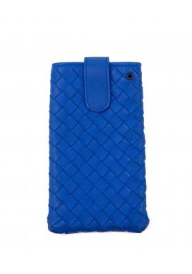 BOTTEGA VENETA Intrecciato Mobile Lederetui cobaltblau. Sehr guter Zustand