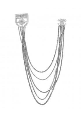 CHANEL Baguette Crystal CC Shield Doppel Brosche. Sehr guter Zustand.