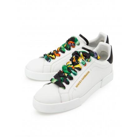 DOLCE & GABBANA Portofino Sneakers Leder weiss Gr. 41. Sehr guter Zustand