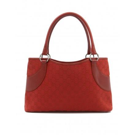 GUCCI GG Supreme Vintage Handtasche Canvas & Leder rot. Sehr guter Zustand