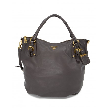 PRADA Large Hobo Bag Schultertasche Leder grau. Sehr guter Zustand.
