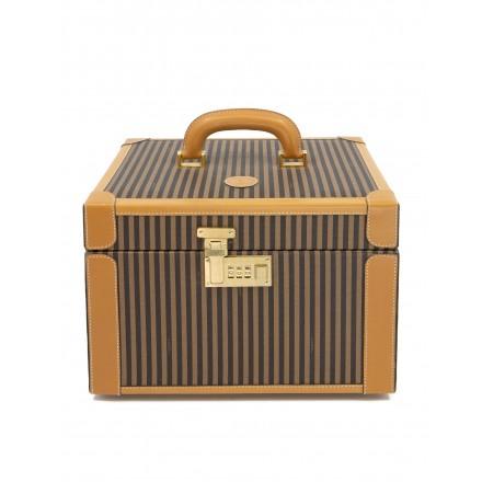 FENDI Vintage Kosmetikkoffer Vanity Case Leder & Canvas in braun. Guter Zustand.