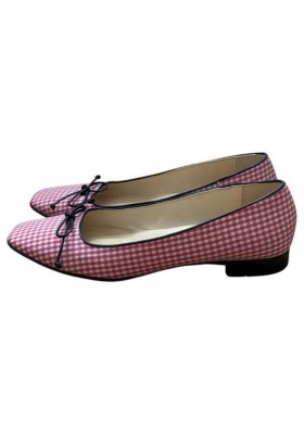 LUDWIG REITER Leinen Ballerinas Vichy rosa weiss. Gr. 39.5. Guter Zustand.
