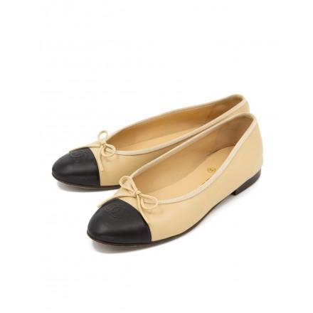 CHANEL Ballerina CC Toe Cap Two Tone Leder beige / schwarz Gr. 39. Guter Zustand