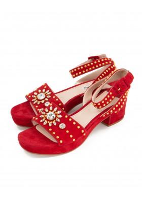 MIU MIU Sandalette mit Applikationen Wildleder rot Gr. 40. Zustand NEU