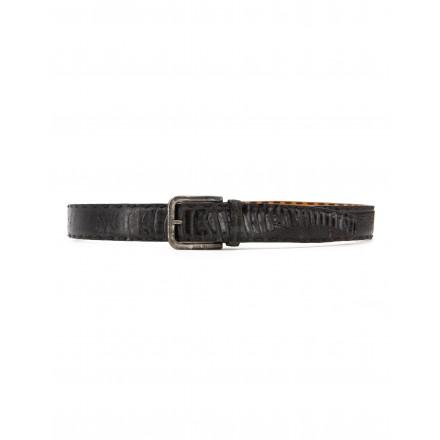 LOPARDO Gürtel Eidechsenleder schwarz Gr. 105 cm. Sehr guter Zustand