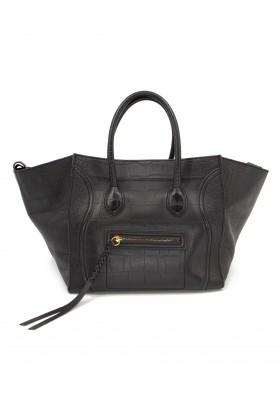 CÉLINE Phantom Luggage Leder Kroko Prägung schwarz. Sehr guter Zustand